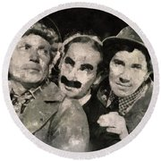 The Marx Brothers Round Beach Towel