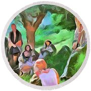 Round Beach Towel featuring the painting The Master Teacher by Wayne Pascall