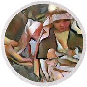 The Master's Hands - Provider Round Beach Towel by Wayne Pascall