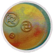 Round Beach Towel featuring the painting The Mechanical Universe by Robert Margetts