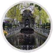The Medici Fountain At The Jardin Du Luxembourg In Paris France. Round Beach Towel