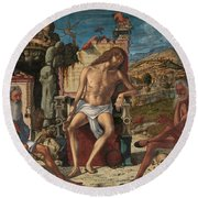 Round Beach Towel featuring the painting The Meditation On The Passion by Vittore Carpaccio