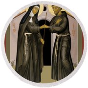 The Meeting Of Sts. Francis And Clare - Rlfac Round Beach Towel