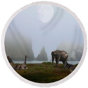 The Menagerie Round Beach Towel