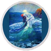 The Mermaid Round Beach Towel by Pg Reproductions