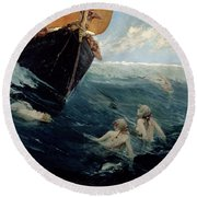 The Mermaid's Rock Round Beach Towel by Edward Matthew Hale