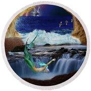 Round Beach Towel featuring the digital art The Mermaids Secret Lair by John Haldane