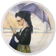 Round Beach Towel featuring the painting The Message by Marlene Book