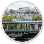 Round Beach Towel featuring the photograph The Metro On The Bridge by Yoel Koskas
