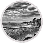 The Mewstone, Wembury Bay, Devon #view Round Beach Towel