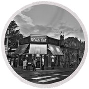 The Middle East In Central Square Cambridge Ma Black And White Round Beach Towel