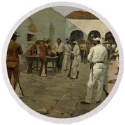 The Mier Expedition The Drawing Of The Black Bean  Round Beach Towel