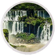 Round Beach Towel featuring the photograph The Mighty Iguazu  by Andrew Matwijec