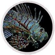 The Mighty Lion Fish Round Beach Towel by Carol F Austin