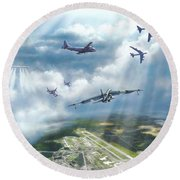 The Mighty Loring A F B Round Beach Towel by Dave Luebbert