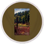 Round Beach Towel featuring the painting The Mighty Perch by Jennifer Lake