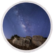 The Milky Way And A Meteor Round Beach Towel