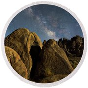 The Milky Way And Moonlight Round Beach Towel