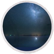 The Milky Way And The Egret Round Beach Towel by Mark Andrew Thomas