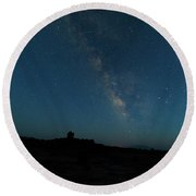 The Milky Way At Goblin Valley Round Beach Towel