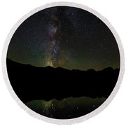 The Milky Way At Sprague Lake Round Beach Towel