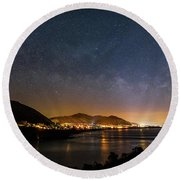 The Milky Way Over Pismo Round Beach Towel