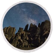 The Milky Way Over The Rocks Round Beach Towel