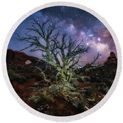 The Milky Way Tree Round Beach Towel