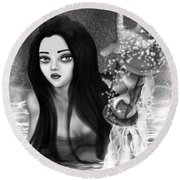 The Missing Key - Black And White Fantasy Art Round Beach Towel