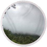 The Mist On The Mountain Round Beach Towel