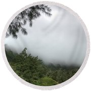 The Mist On The Mountain Round Beach Towel