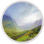 The Mists Of Rannoch Moor Round Beach Towel