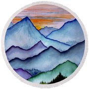 The Misty Mountains Round Beach Towel