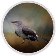 Round Beach Towel featuring the photograph The Mockingbird A Bird Of Many Songs by David and Carol Kelly