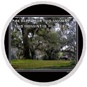 Round Beach Towel featuring the photograph The Moment by Irma BACKELANT GALLERIES