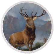 The Monarch Of The Glen Round Beach Towel