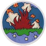 Round Beach Towel featuring the painting The Moon And The Stars Below by SpiritPainter