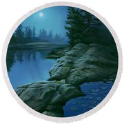 The Moonlight Hour Round Beach Towel