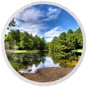 Round Beach Towel featuring the photograph The Moose River At Covewood by David Patterson