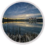 The Moritzburg Castle Is A Baroque Palace In Moritzburg In The German State Of Saxony. Saxony, Germany. Round Beach Towel