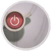The Morning Power Up Round Beach Towel