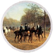 The Morning Ride Rotten Row Hyde Park Round Beach Towel by Heywood Hardy