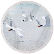The Morning Rush Round Beach Towel