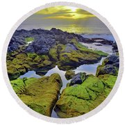 Round Beach Towel featuring the photograph The Mossy Rocks At Sunset by Tara Turner