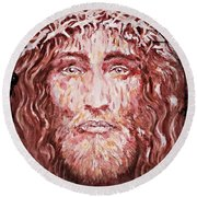 Round Beach Towel featuring the painting The Most Loved Jesus Christ by AmaS Art