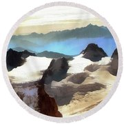 Round Beach Towel featuring the painting The Mountain Paint by Odon Czintos