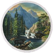 The Mountain Pass Sierra Nevada, 1867 Round Beach Towel