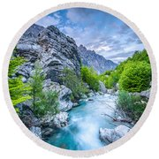 The Mountain Spring Round Beach Towel
