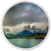 The Mountains On The Lake Round Beach Towel by Andrew Matwijec