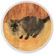 The Mouser, Barn Cat Watercolor Round Beach Towel